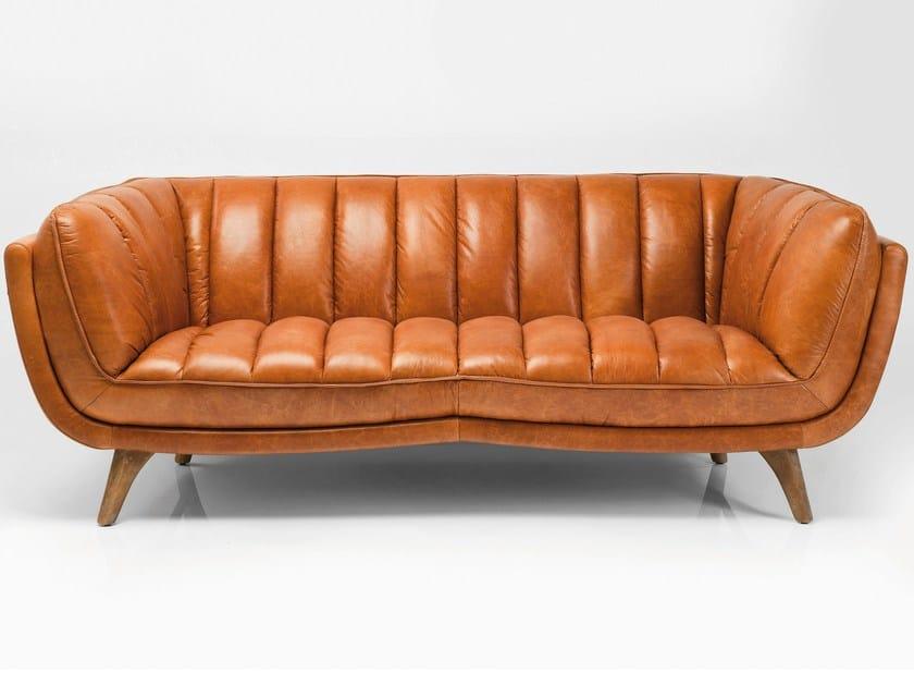 3 er sofa aus leder bruno by kare design. Black Bedroom Furniture Sets. Home Design Ideas