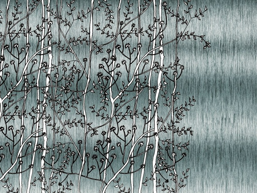 Wallpaper with floral pattern FIBRE by Wall&decò