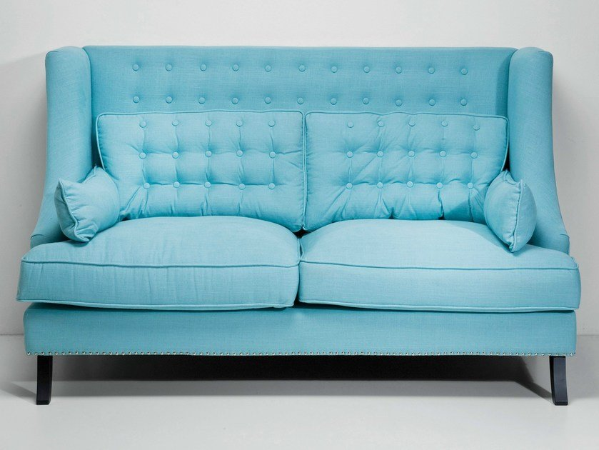 2 seater high-back fabric sofa VEGAS LIGHT BLUE | Sofa - KARE-DESIGN