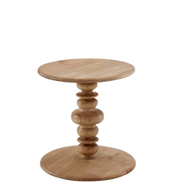 Round wooden coffee table KUF | Wooden coffee table by Ligne Roset
