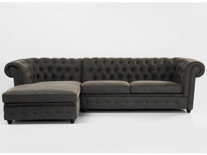 Corner 3 seater sofa OXFORD GRAPHITE - KARE-DESIGN