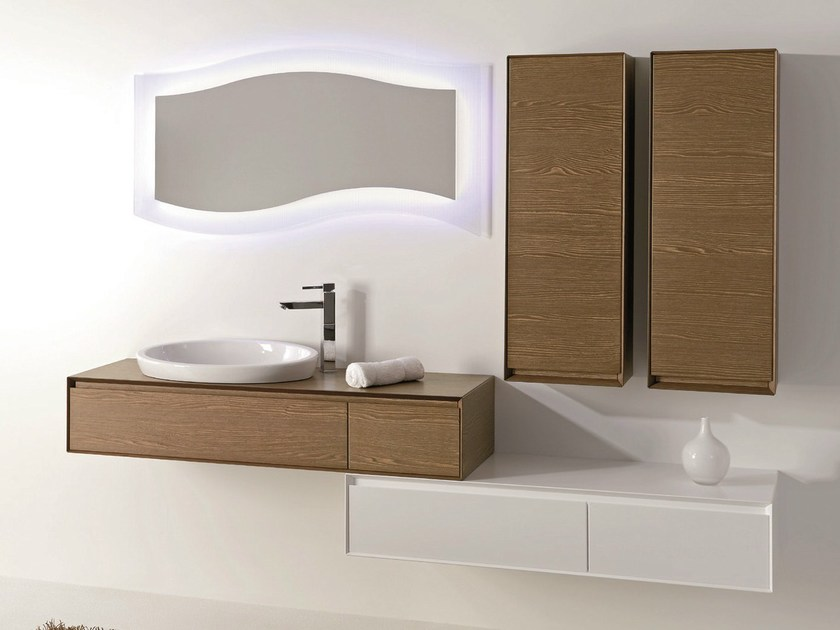 Vanity unit with drawers with mirror LU.01 by Mobiltesino