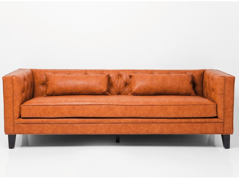 3 seater leather sofa TEXAS BROWN - KARE-DESIGN