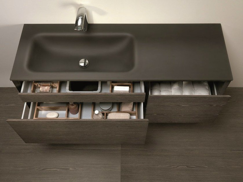 Wall-mounted vanity unit with drawers LU.26 by Mobiltesino