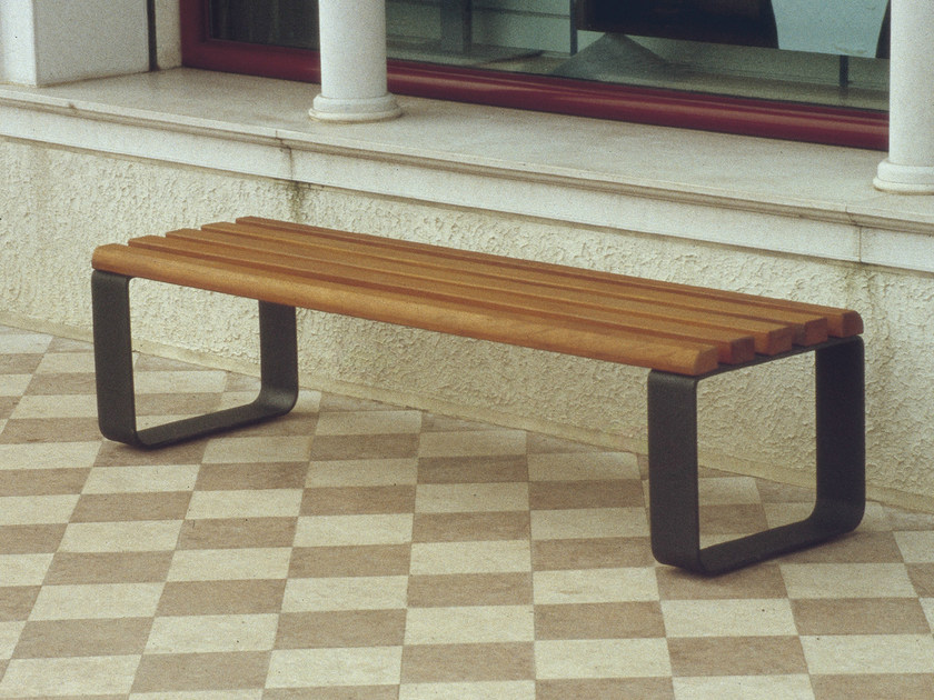 Backless steel and wood Bench POSADA - Gruppo Industriale Tegolaia