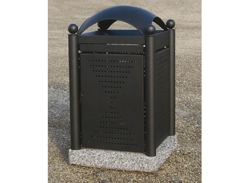 Outdoor steel waste bin with lid OLD-STREET by Tegolaia