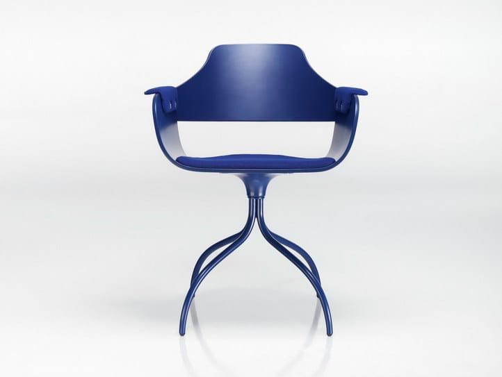 Swivel trestle-based aluminium chair SHOWTIME | Aluminium chair - BD Barcelona Design
