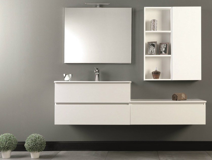 Wall-mounted vanity unit with drawers HD.03 - Mobiltesino