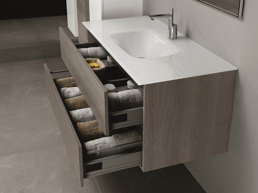 Wall-mounted vanity unit with drawers HD.06 by Mobiltesino