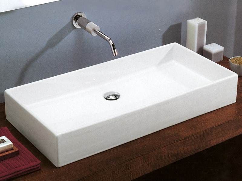 Countertop rectangular ceramic washbasin ASTRO - Edoné by Agorà Group