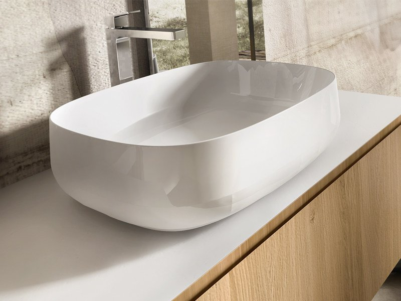 Countertop rectangular ceramic washbasin TROY 55 - Edoné by Agorà Group