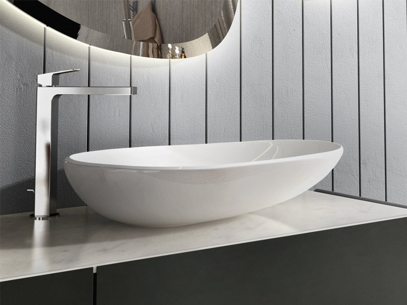 Countertop oval ceramic washbasin EGG by Edoné by Agorà Group