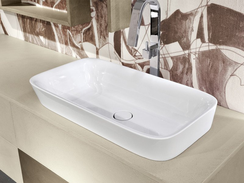 Inset rectangular ceramic washbasin CIOTOLA - Edoné by Agorà Group