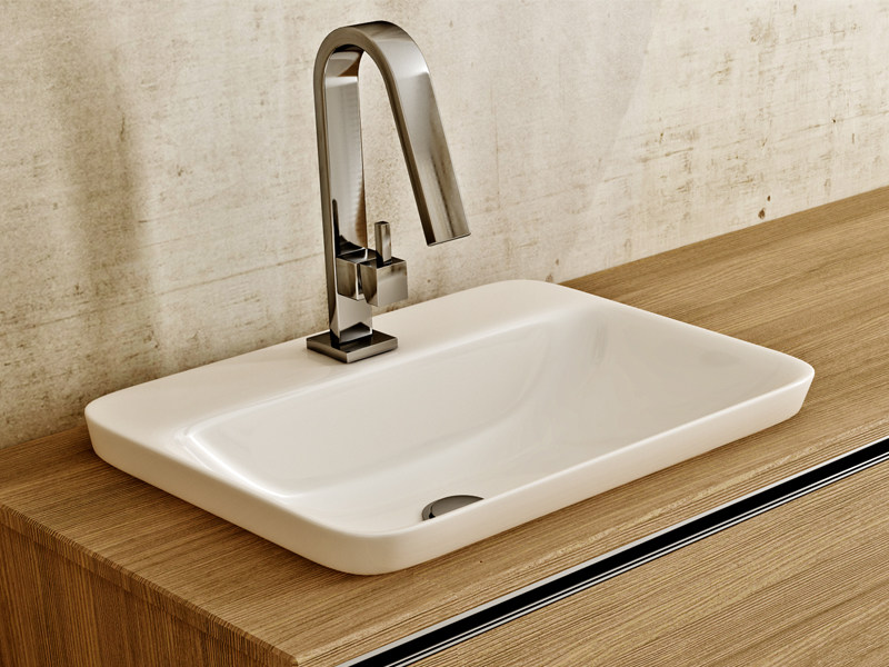Inset rectangular ceramic washbasin SOUL - Edoné by Agorà Group