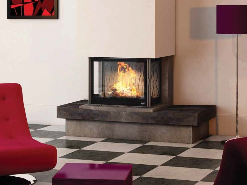 Wood-burning 3-sided fireplace ELKO - CHEMINEES SEGUIN DUTERIEZ