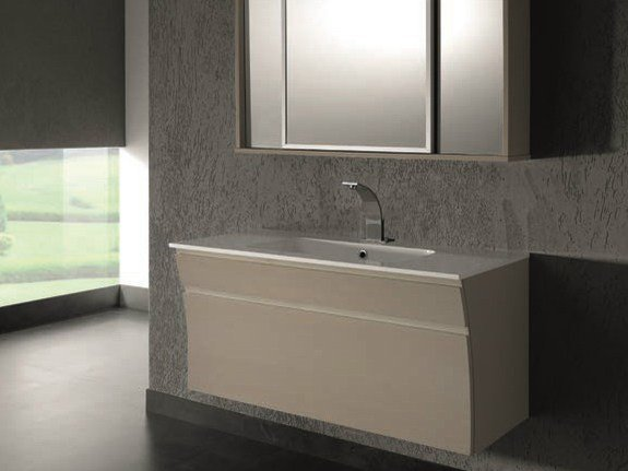 Wall-mounted vanity unit with mirror S121 - Mobiltesino