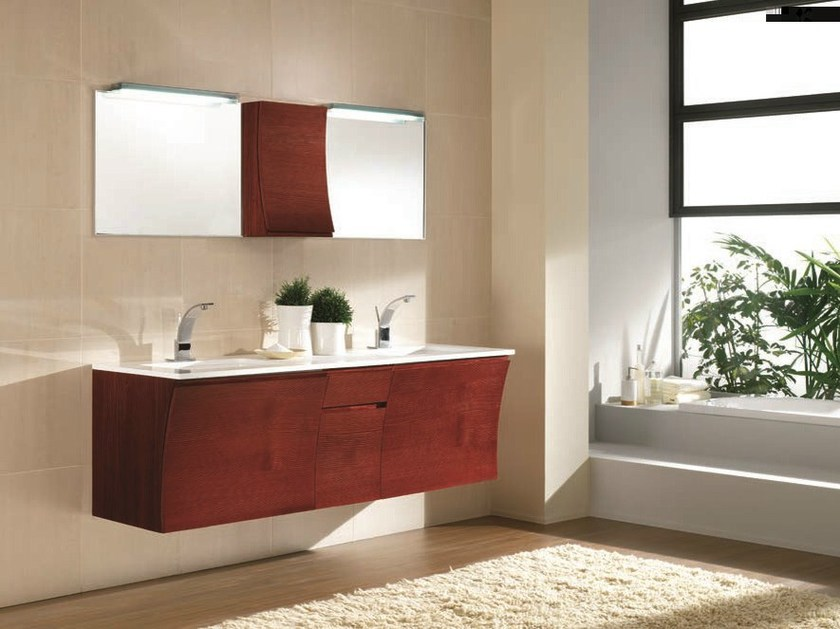 Contemporary style double wooden vanity unit with drawers with mirror S117 - Mobiltesino