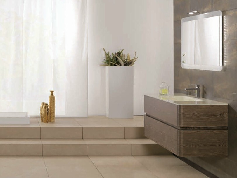 Wall-mounted vanity unit with drawers QU37 by Mobiltesino
