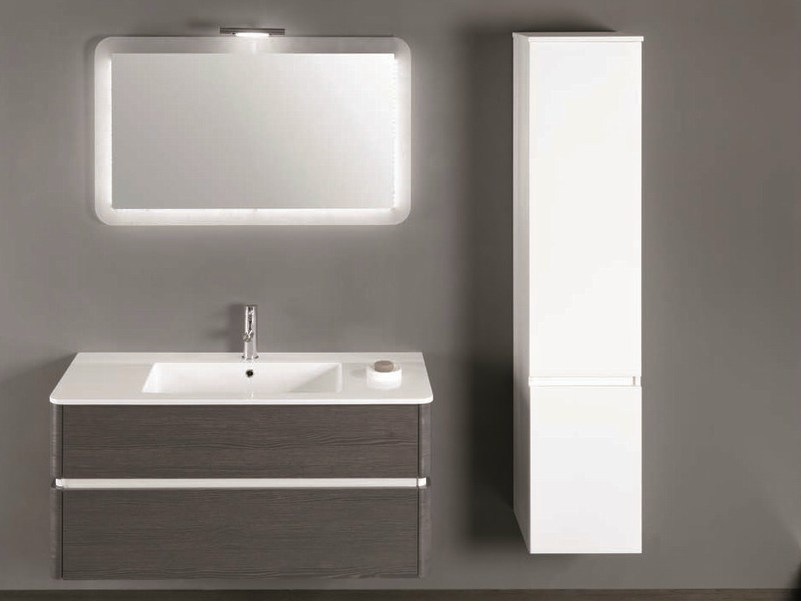 Single vanity unit with cabinets with drawers QU34 - Mobiltesino