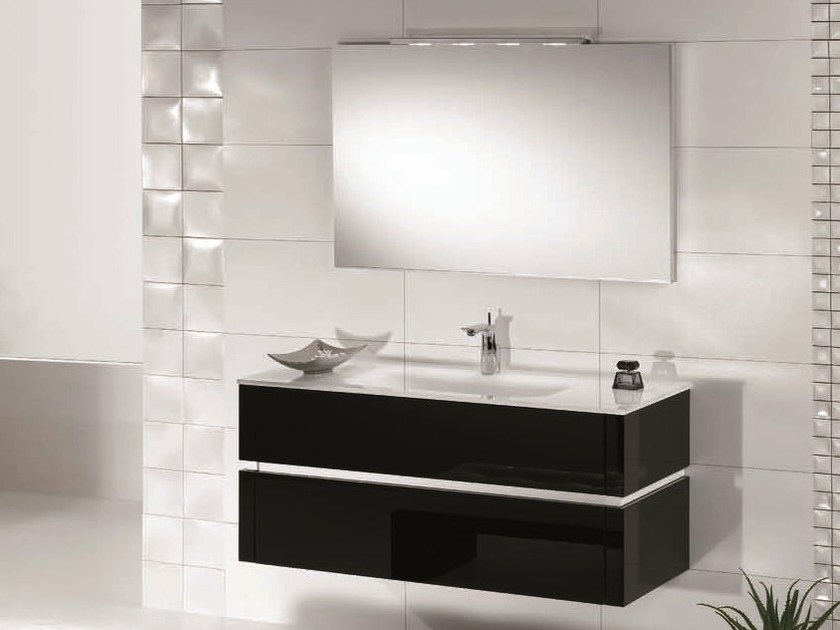 Lacquered single vanity unit with drawers QU19 | Vanity unit - Mobiltesino