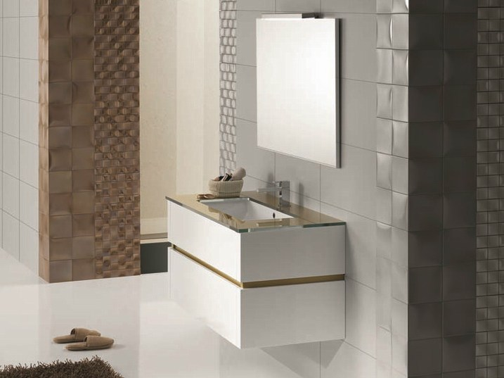 Wall-mounted vanity unit with drawers QU12 - Mobiltesino
