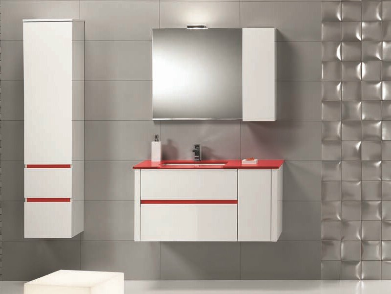 Single vanity unit with drawers QU10 - Mobiltesino