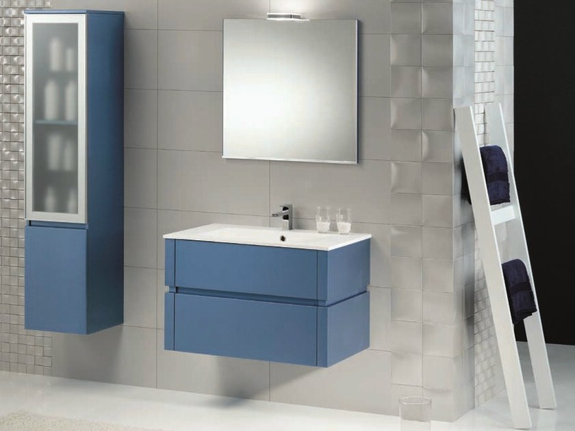 Vanity unit with cabinets with drawers QU15 by Mobiltesino