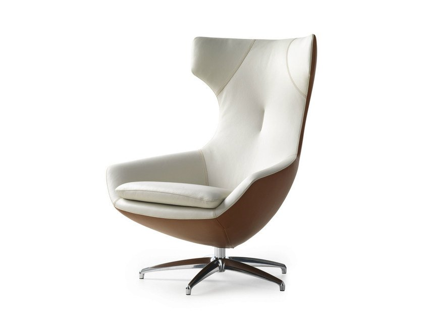 Upholstered leather armchair CARUZZO | Leather armchair by LEOLUX
