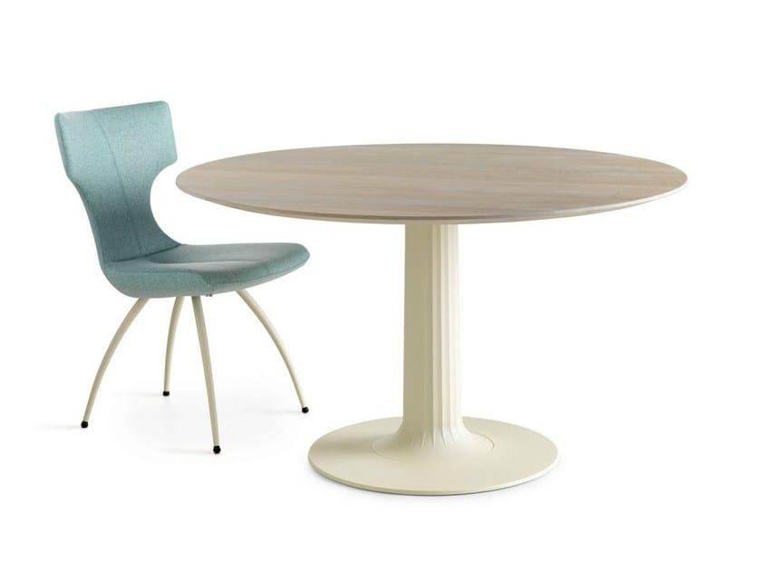 Round wooden table COLUMNA - LEOLUX