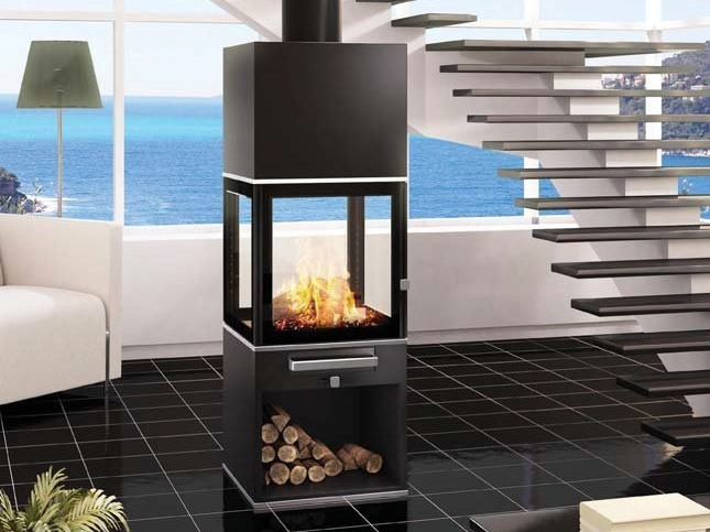 Wood-burning Central stove KUBIC by CHEMINEES SEGUIN