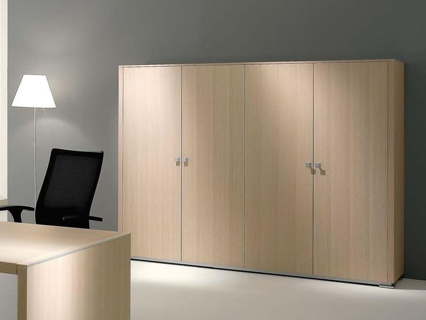 Tall wood veneer office storage unit with hinged doors ELECTA | Tall office storage unit - IFT