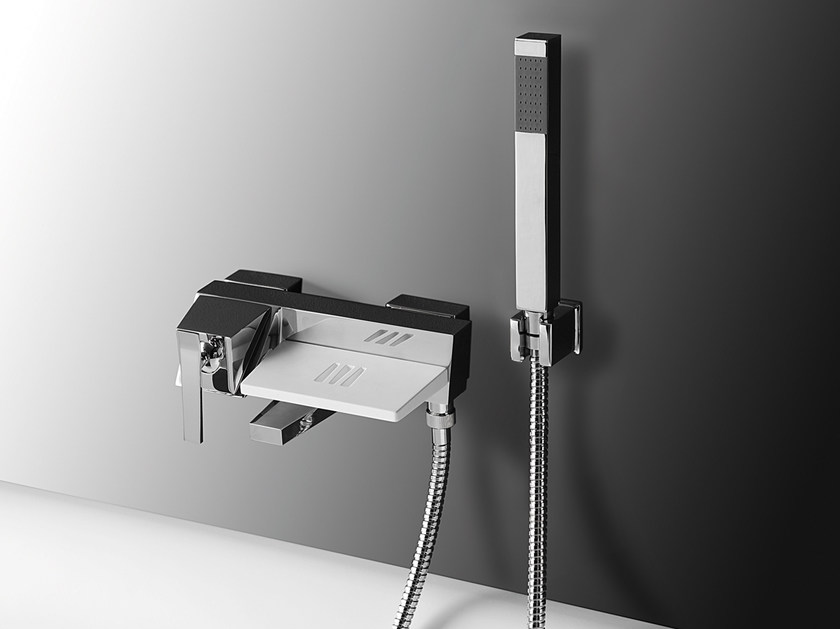 Wall-mounted bathtub mixer with hand shower PANFILO | Wall-mounted bathtub mixer - Rubinetterie Mariani