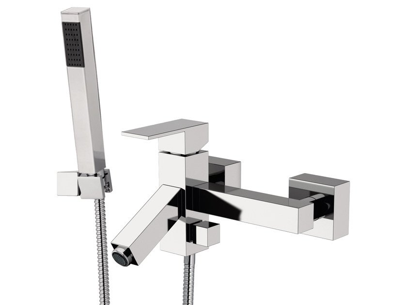 Wall-mounted bathtub mixer with hand shower TOWER | Bathtub mixer - Rubinetterie Mariani