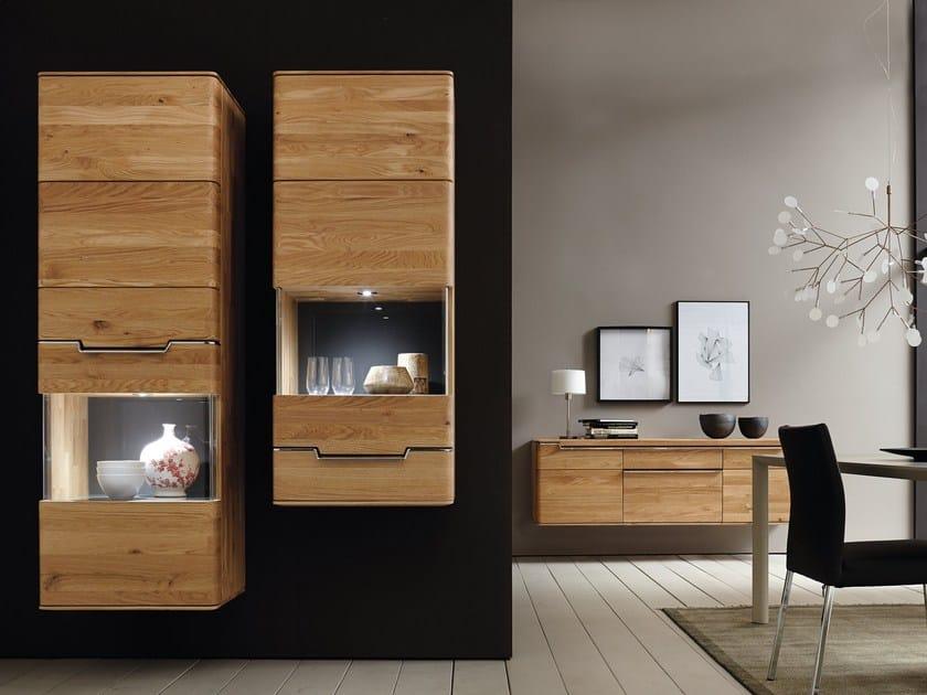 Wall-mounted wood and glass display cabinet VEDUA | Display cabinet - Hülsta-Werke Hüls