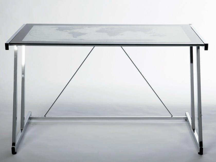 Rectangular glass and steel writing desk MONDO - KARE-DESIGN