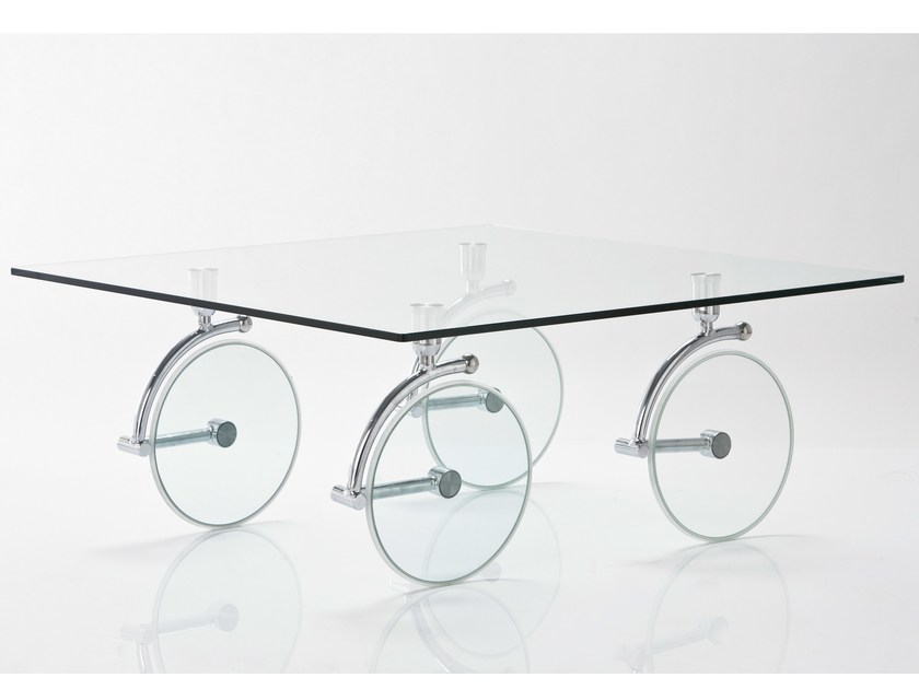 Rectangular glass coffee table with casters WHEELS - KARE-DESIGN