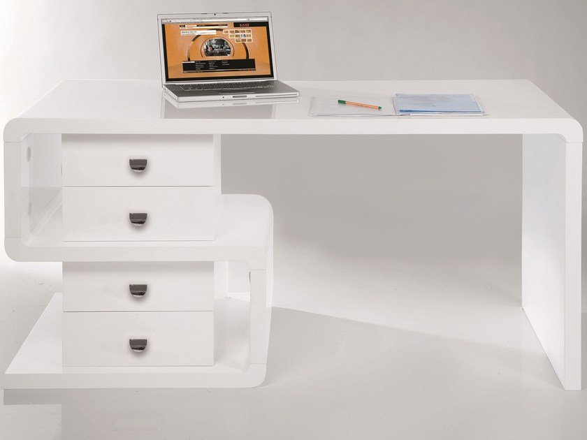 Lacquered rectangular wooden writing desk with drawers WHITE CLUB DESK SNAKE - KARE-DESIGN