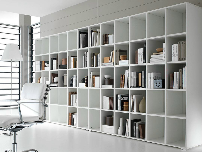 Open freestanding lacquered office shelving PRATIKO | Lacquered office shelving - IFT