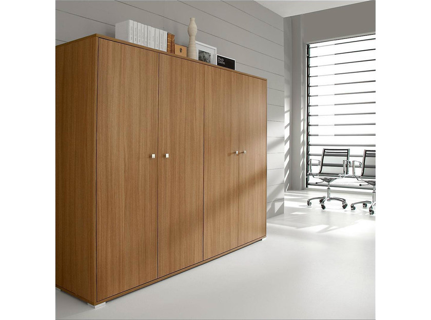Tall wood veneer office storage unit with hinged doors PRATIKO | Tall office storage unit - IFT