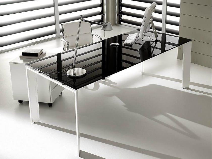 Rectangular lacquered glass executive desk PRATIKO | Glass office desk - IFT