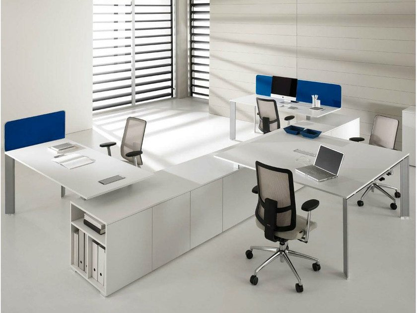 Sectional lacquered workstation desk COWORK | Sectional office desk - IFT