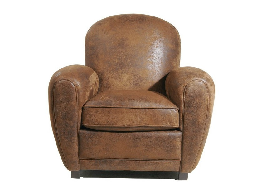 Upholstered leather armchair with armrests VINTAGE ROUND - KARE-DESIGN