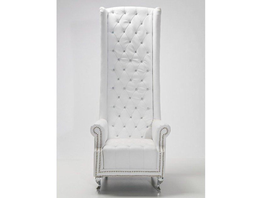 High-back upholstered leather armchair with armrests QUEEN WHITE - KARE-DESIGN