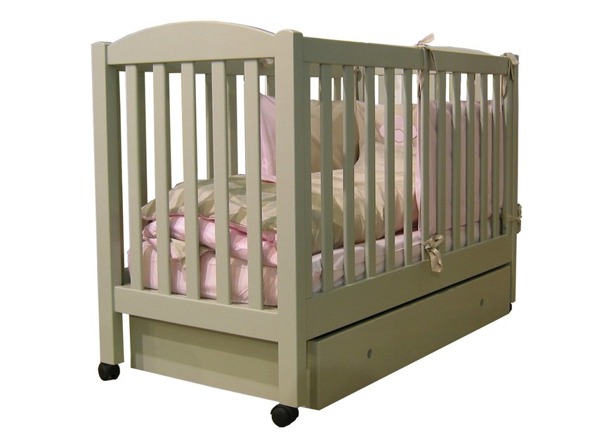 Cot with storage space with casters TILLEUL | Cot with storage space - Mathy by Bols