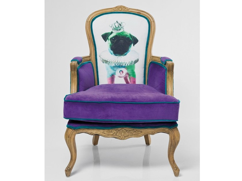 High-back upholstered fabric armchair with 4-spoke base VILLA GRANDFATHER MOPS - KARE-DESIGN