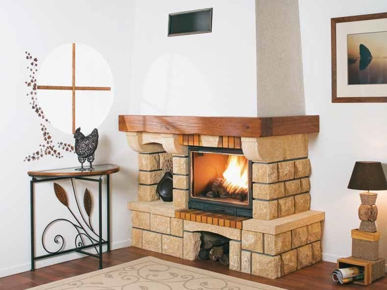 Wood-burning corner fireplace with panoramic glass TRÉVISE by CHEMINEES SEGUIN