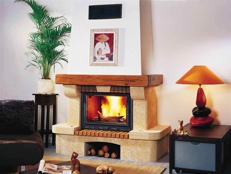 Wood-burning fireplace with panoramic glass JOANE by CHEMINEES SEGUIN
