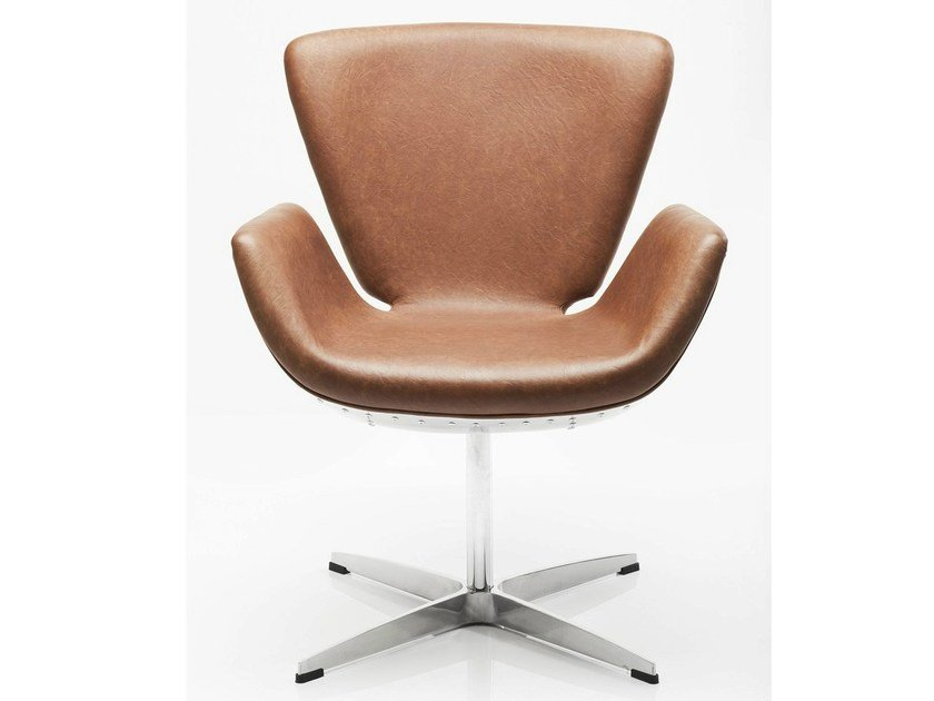 Swivel upholstered leather armchair with armrests SOHO SOFT TIN by KARE-DESIGN