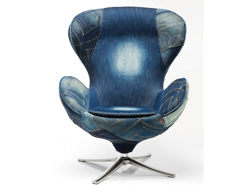 Swivel denim fabric armchair with 4-spoke base LOUNGE JEANS - KARE-DESIGN
