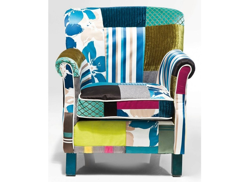 Upholstered fabric armchair with armrests PATCHWORK STRIPES by KARE-DESIGN